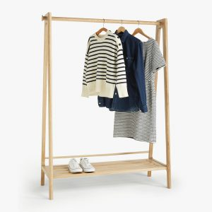 Oak clothes rail with shelf