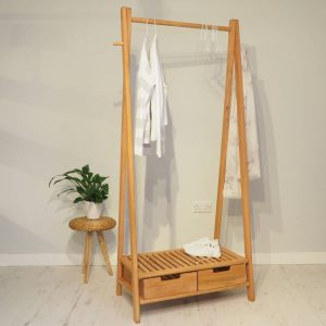 Mahogany clothes rail with shoe rack and drawers