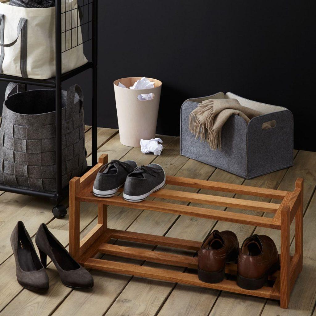 2 tier solid oak shoe rack