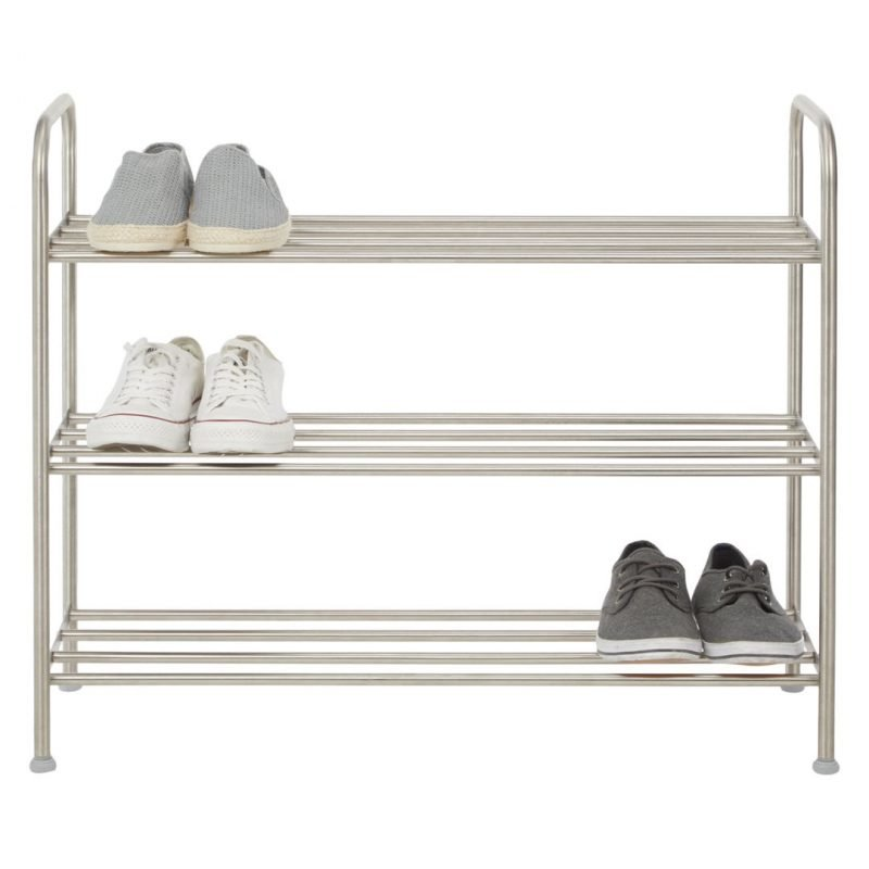 Stainless shoe rack with 3 shelves