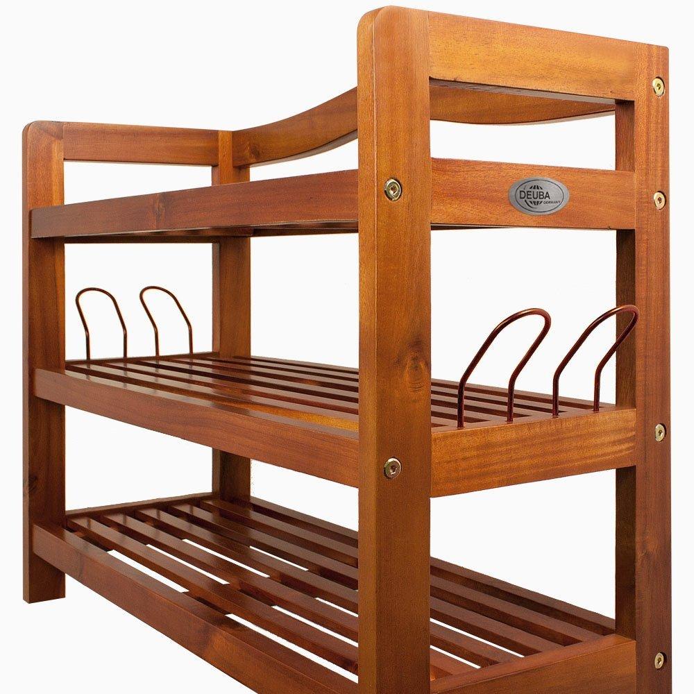Acaia wood shoe rack with 3 shelves