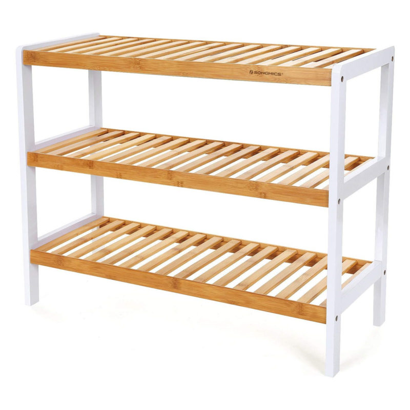 3-tier bamboo shoe rack with white frame