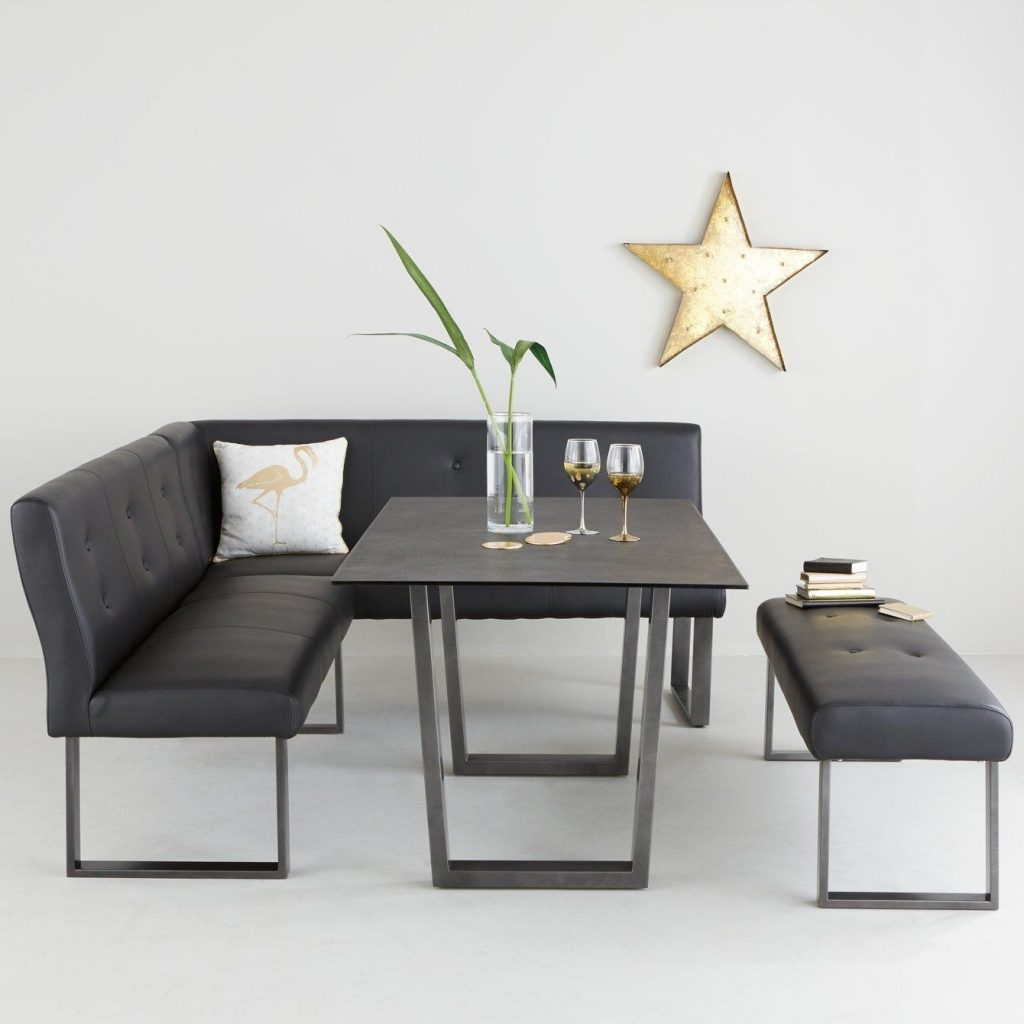 Modern black corner dining set