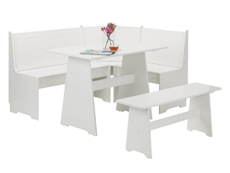 White-painted corner dining set