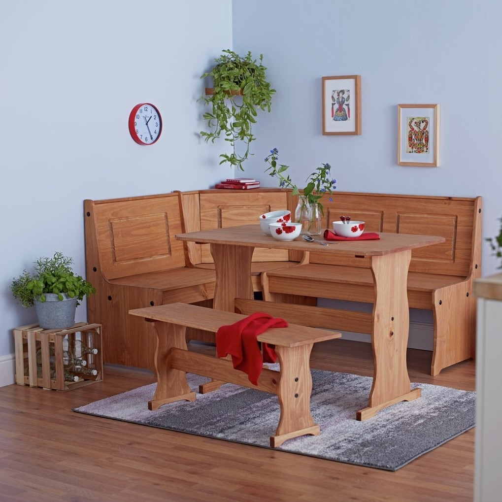 Corner dining set with a natural wood finish