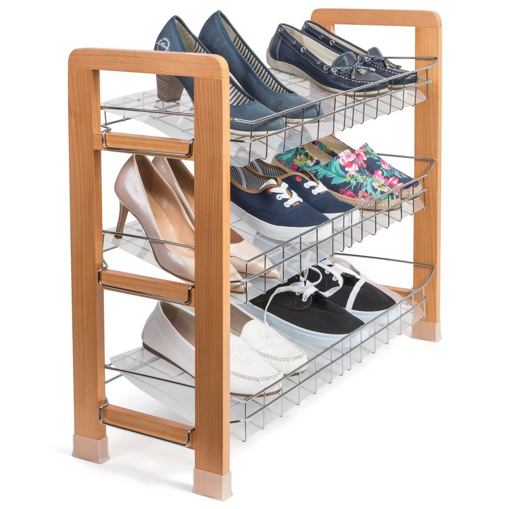 3 tier shoe rack with wooden frame and wire mesh shelves