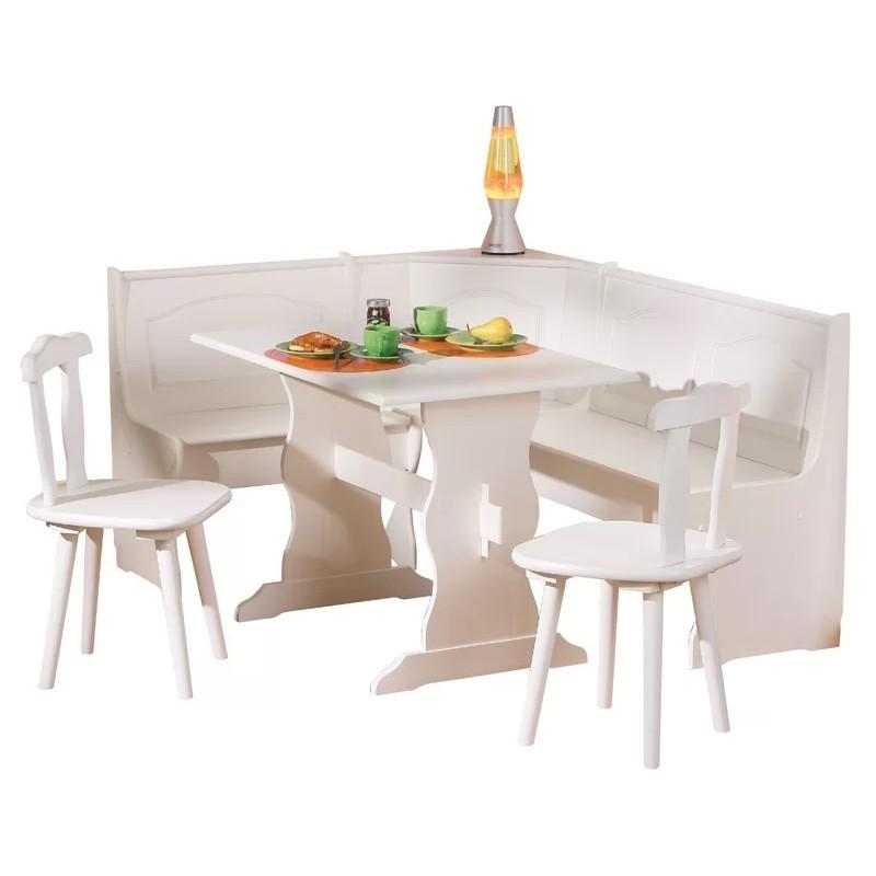 White Painted Corner Dining Set (White)