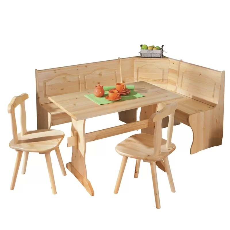Pine corner bench and dining table set