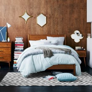 Retro-style bedroom furniture with an acorn finish