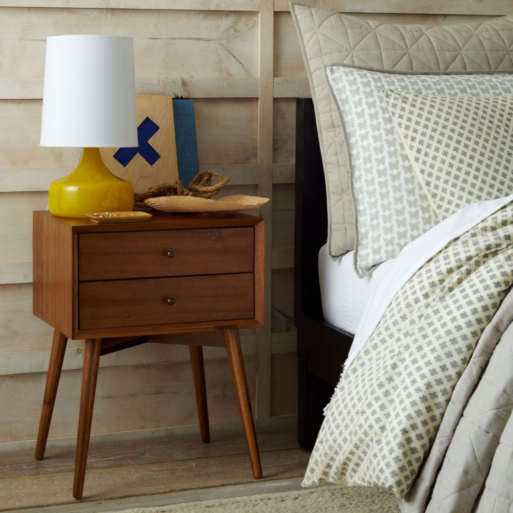 Retro bedside table with acorn finish