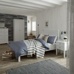 White-painted bedroom furniture