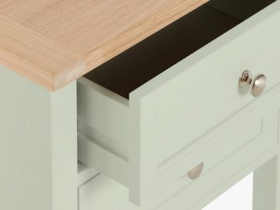 Fern painted bedside table with oak top