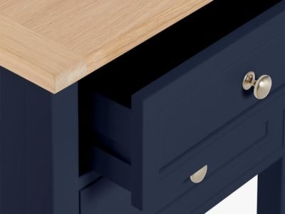 Ink blue bedside table with oak top