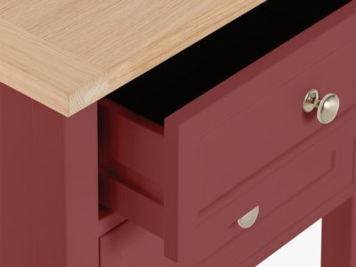 Rosehip-painted bedside table with oak top