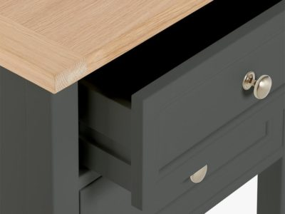 Slate painted bedside table with oak top