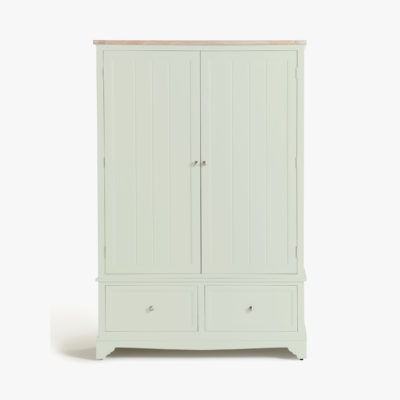 Fern painted wardrobe with oak top