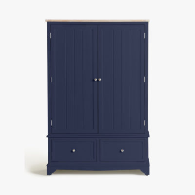 Ink blue painted wardrobe with oak top