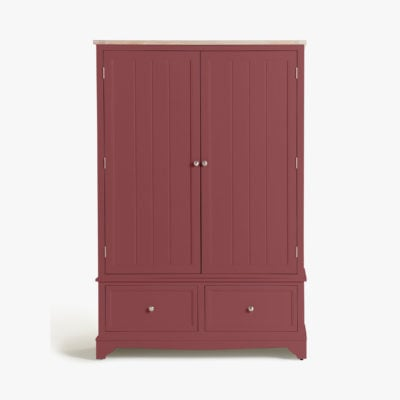 Rosehip painted wardrobe with oak top