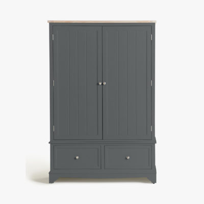 Slate painted wardrobe with oak top