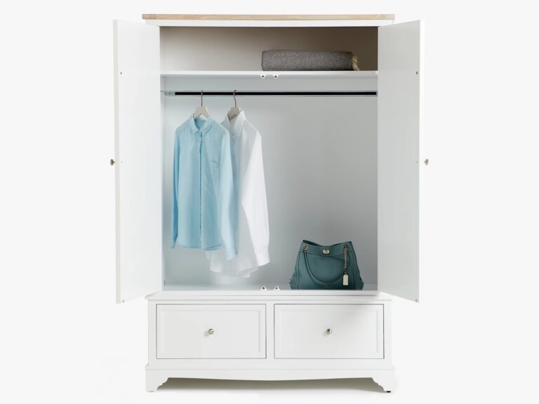 Cream painted wardrobe with 2 drawers