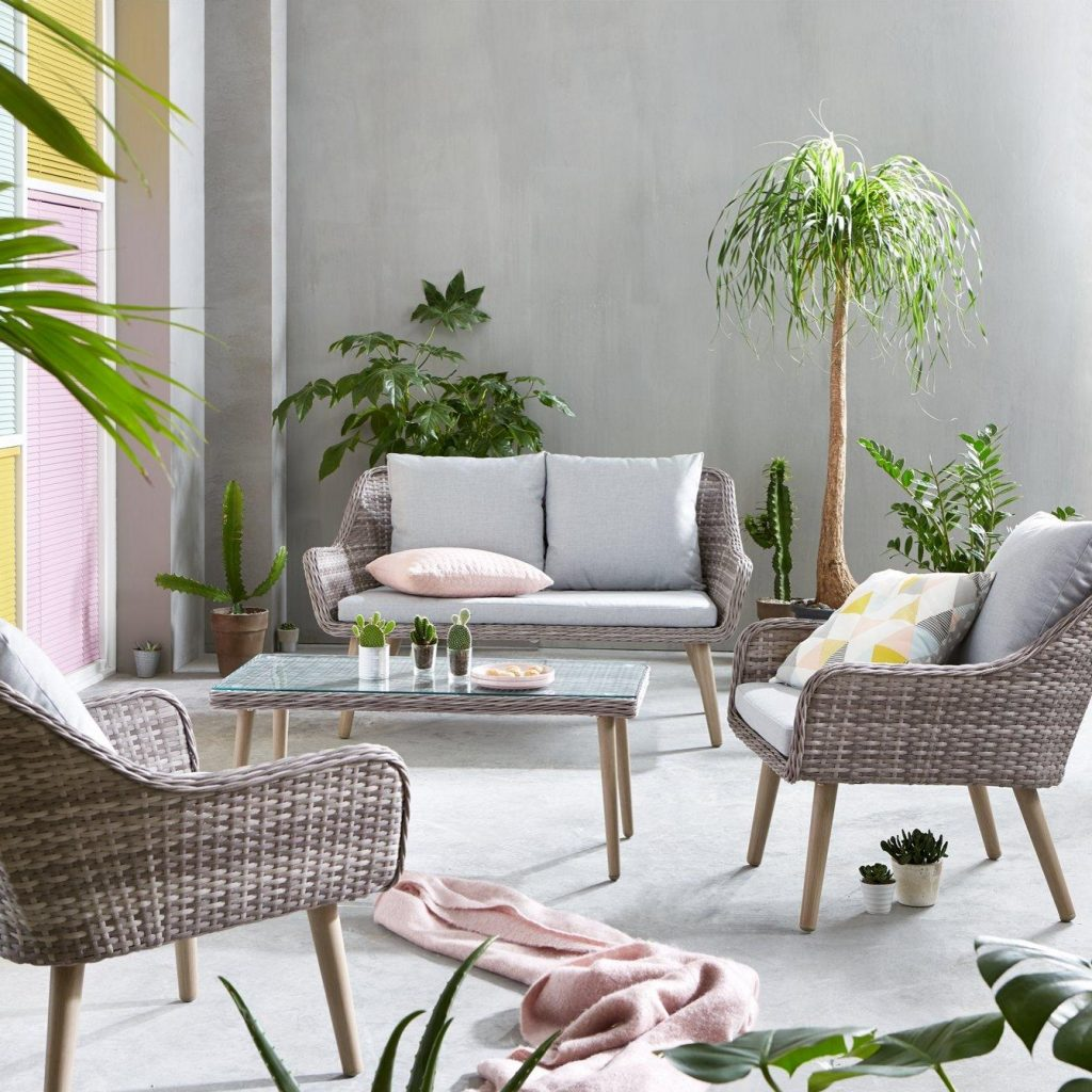 Rattan-style sofa and chairs