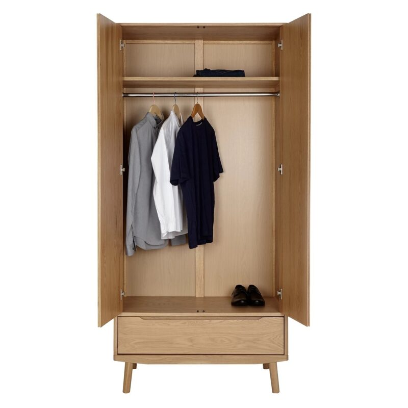 2-door oak wardrobe with hanging rail and drawer