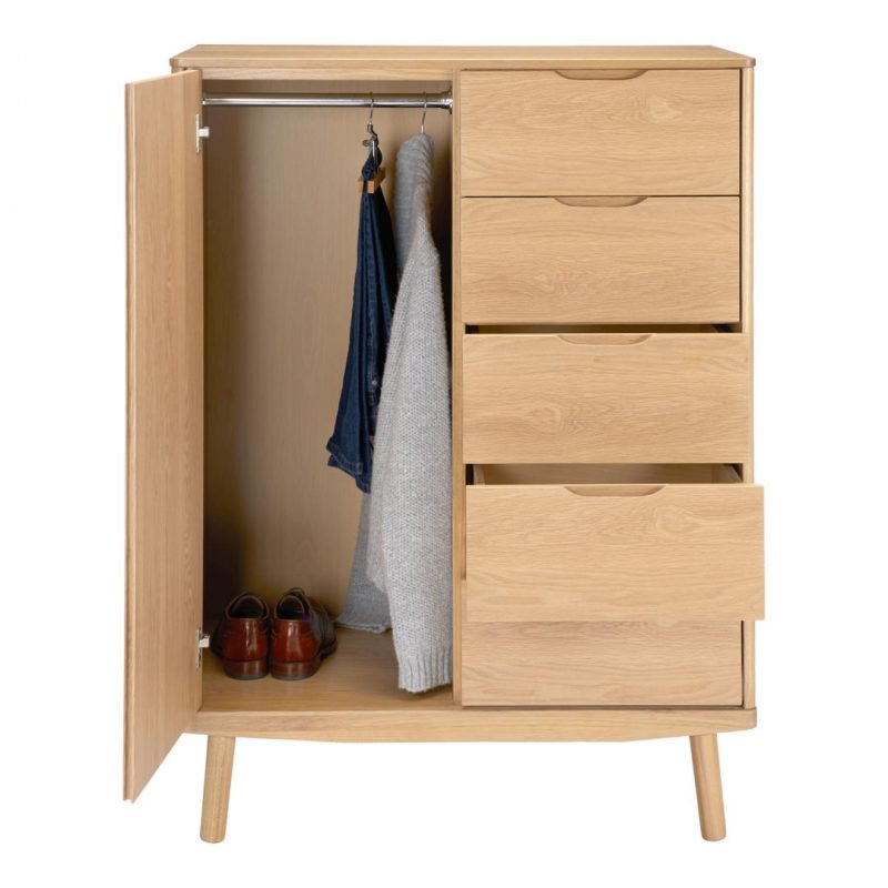 Combined wardrobe and drawer chest