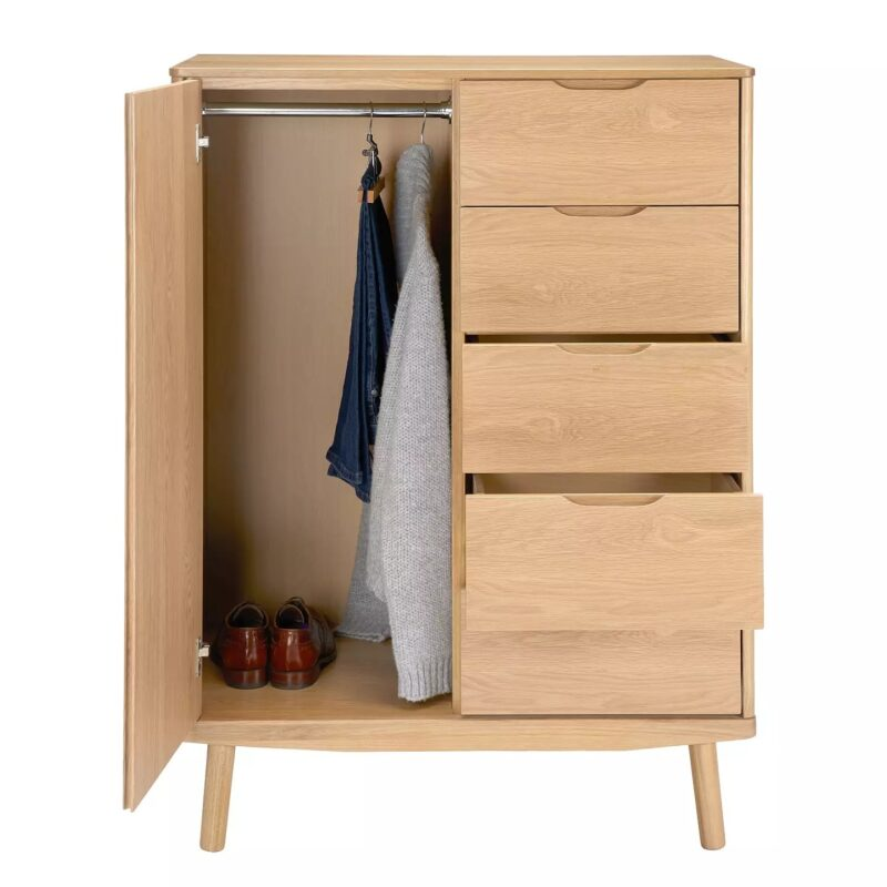Small wardrobe with 5 vertical drawers