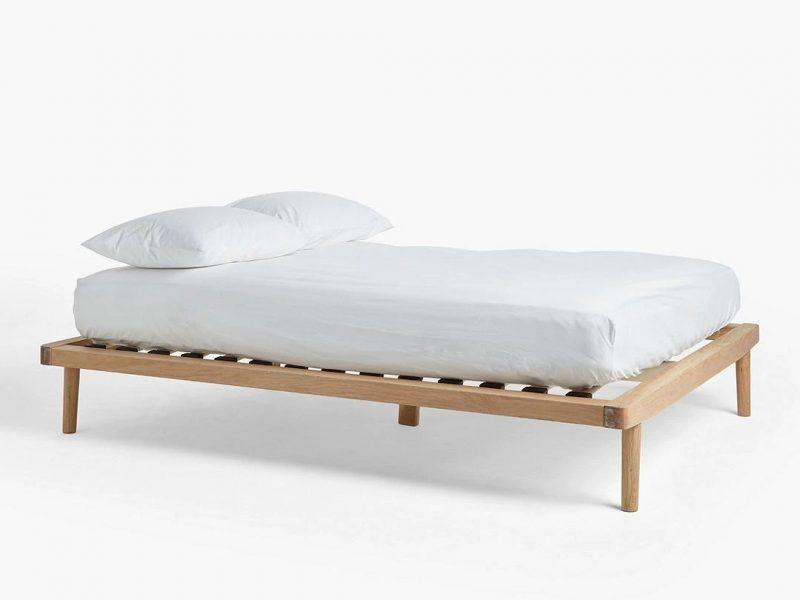 Oak platform-style bed frame