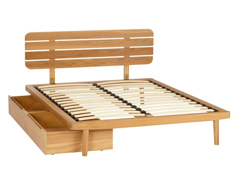 Oak bed frame with slatted headboard and storage drawers