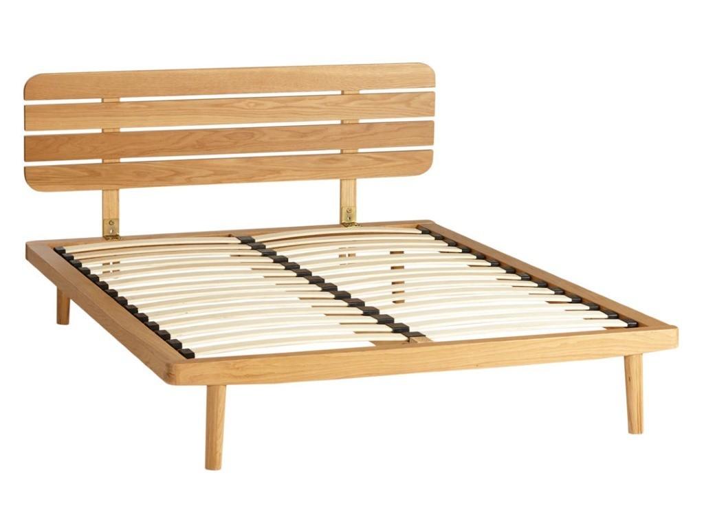 Oak bed frame with slatted headboard