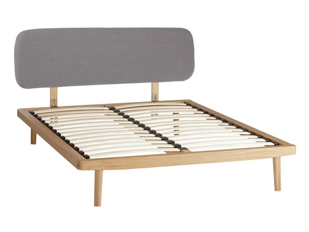 Oak bed frame with grey fabric headboard