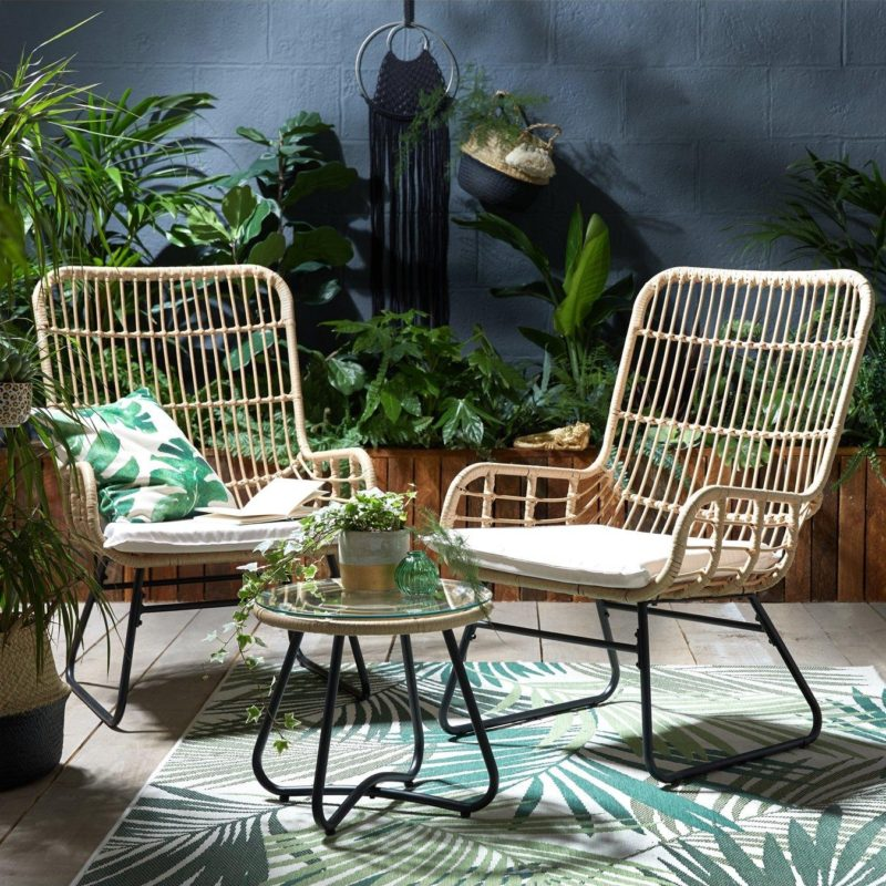 Pair of garden chairs and table with a light-coloured rattan finish