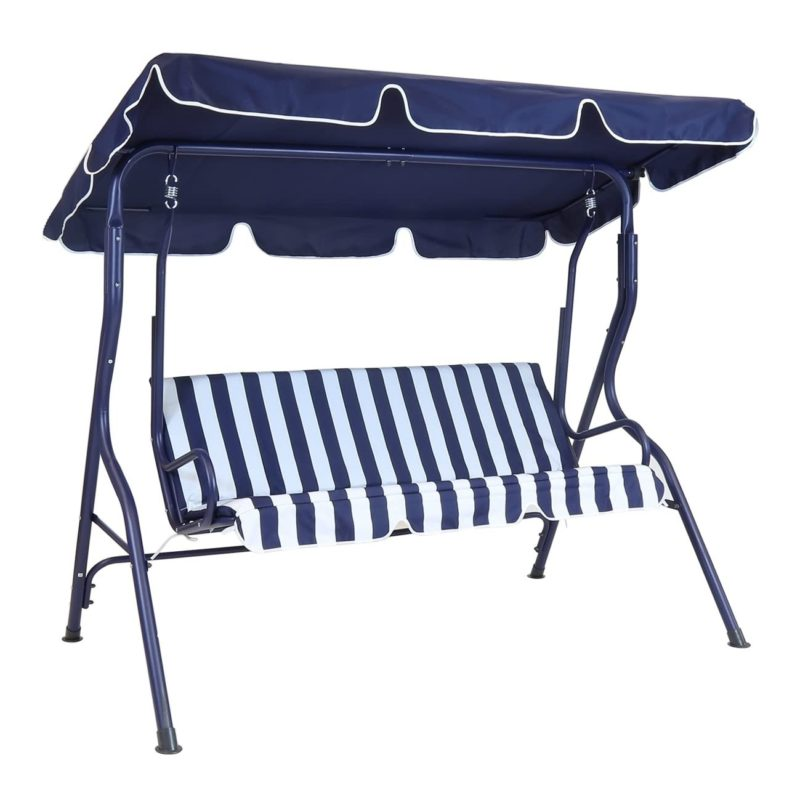 Swing seat with blue canopy and blue stripe seat