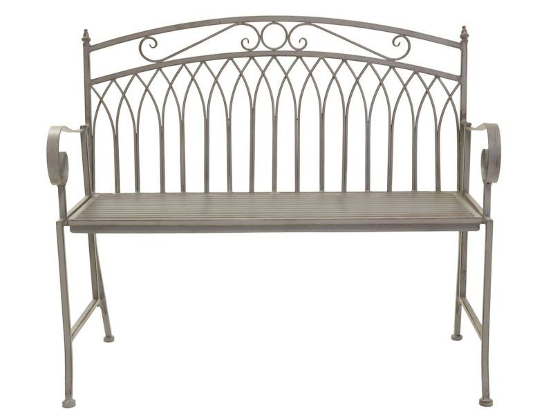Grey iron garden bench