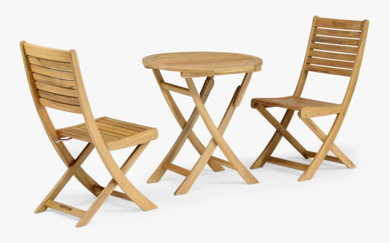 Solid Eucalyptus wood bistro set with a curved, foldable design