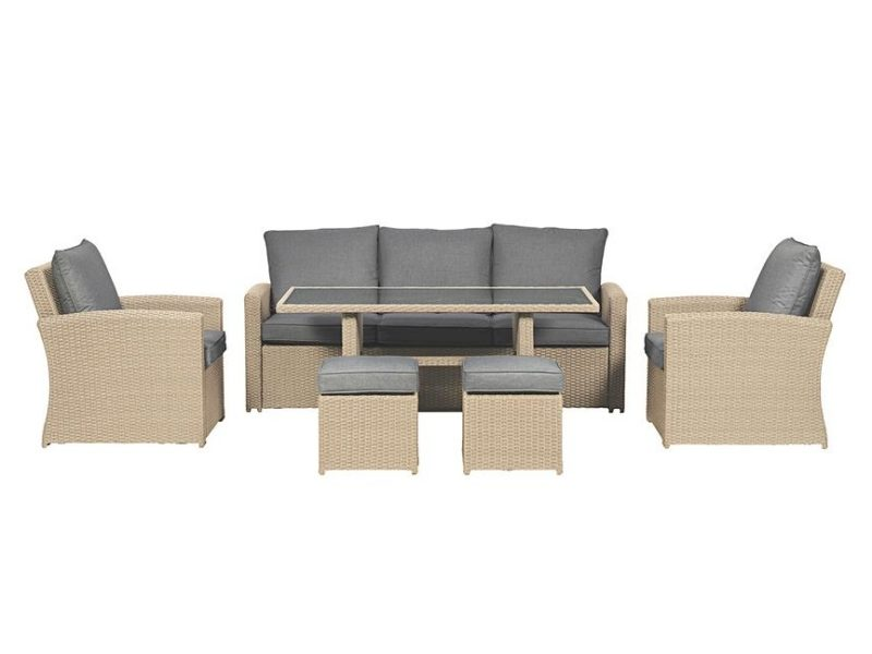 Rattan outdoor dining set with grey cushions