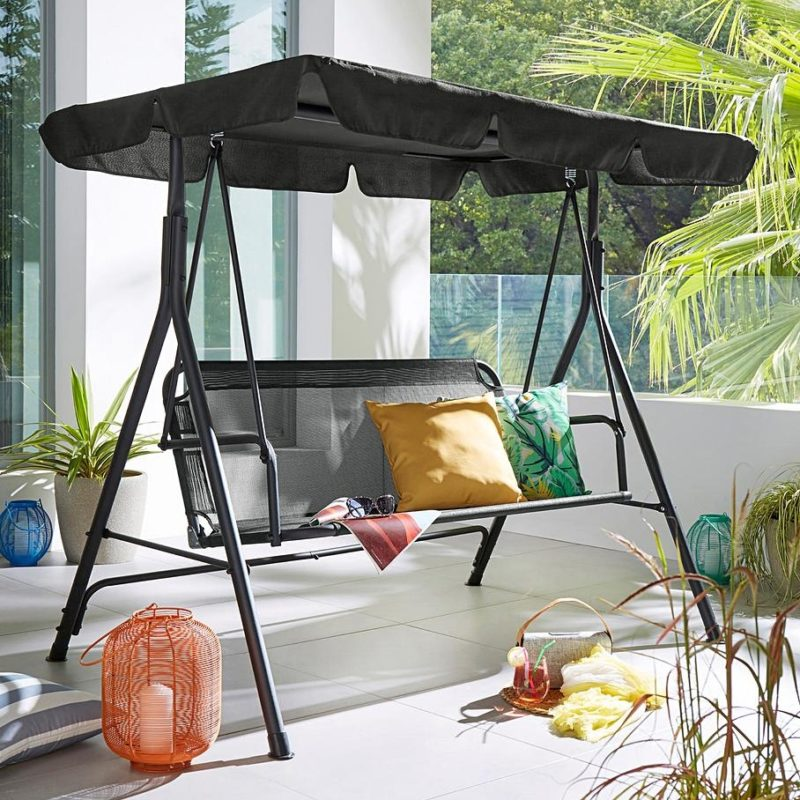Black steel framed swing seat with canopy