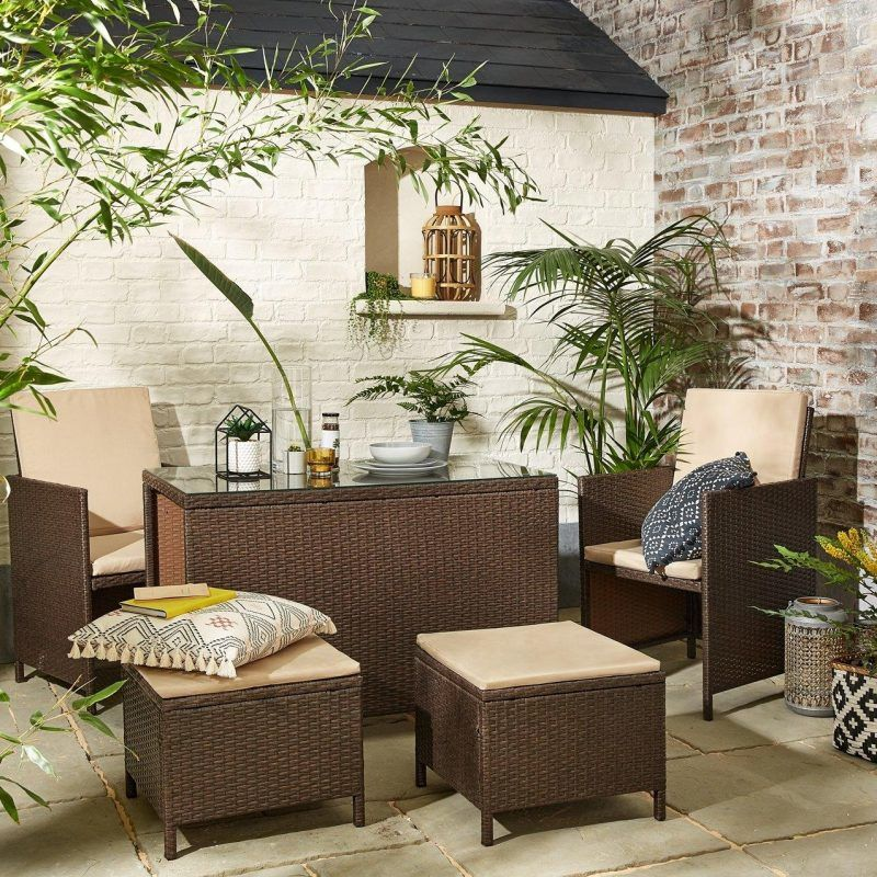 Woven wicker garden furniture set