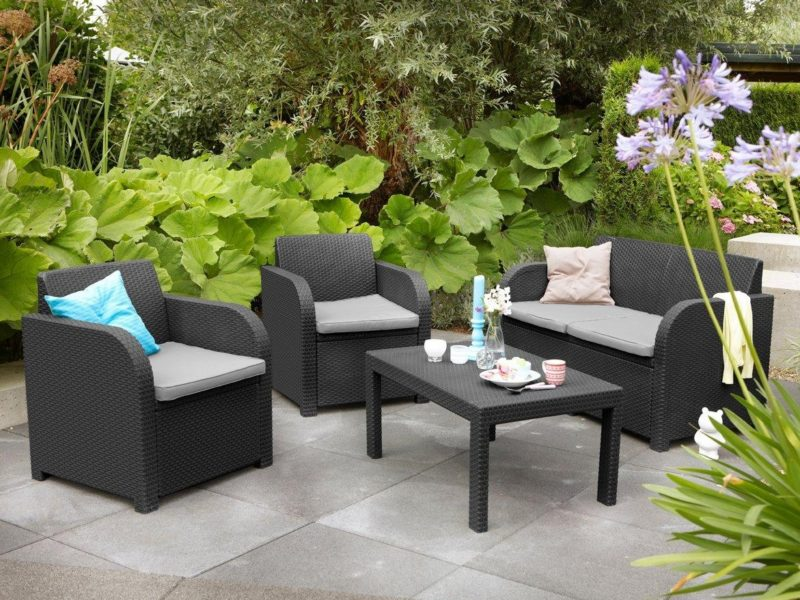 Dark-grey rattan sofa set