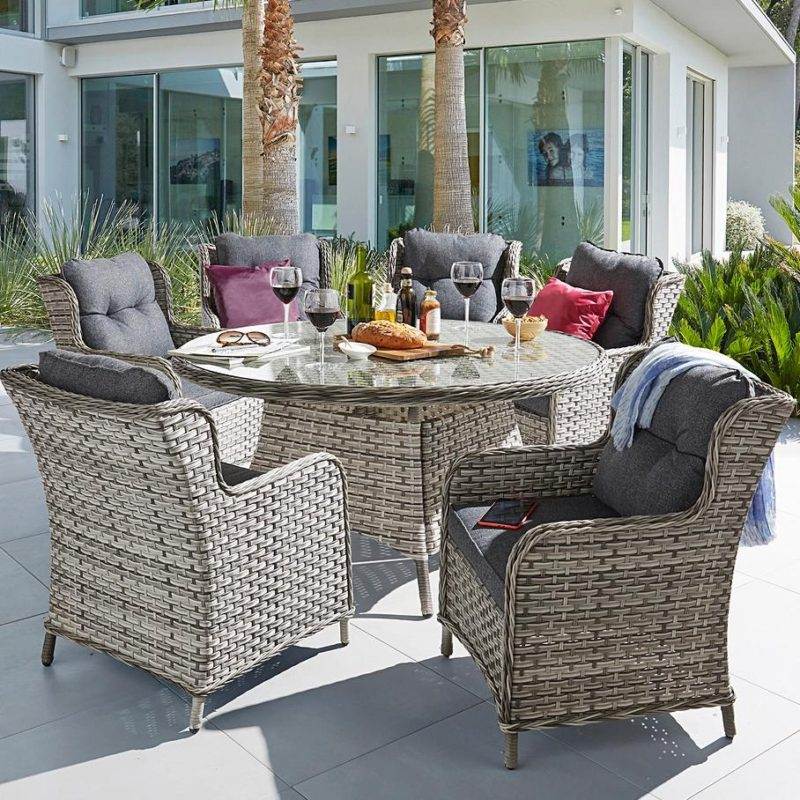 Grey rattan outdoor furniture set