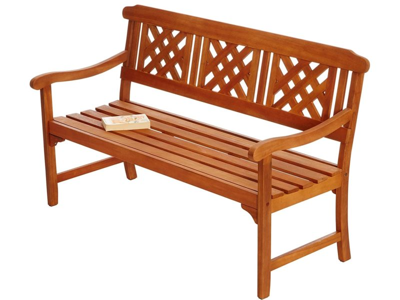 3-seater wooden bench with lattice back