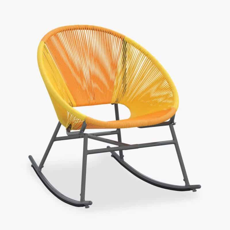 Red and orange outdoor rocking chair