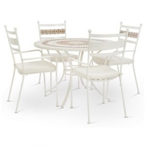 White metal garden dining set with mosaic top