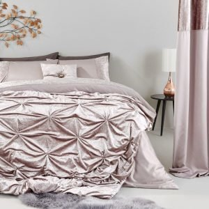Pink velvet bedspread