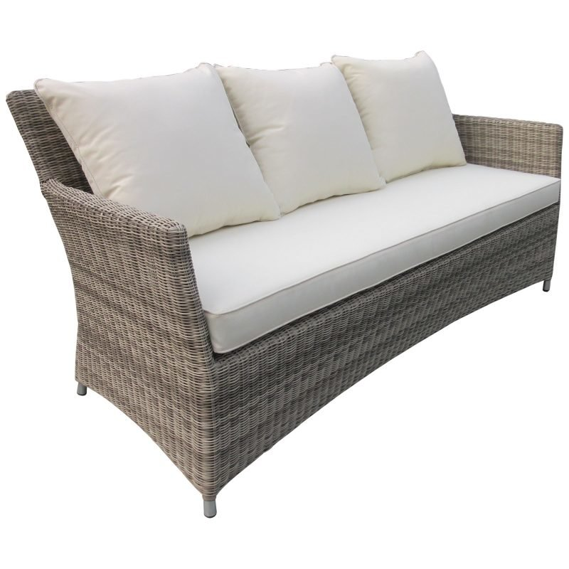 3-seater wicker sofa with cushions
