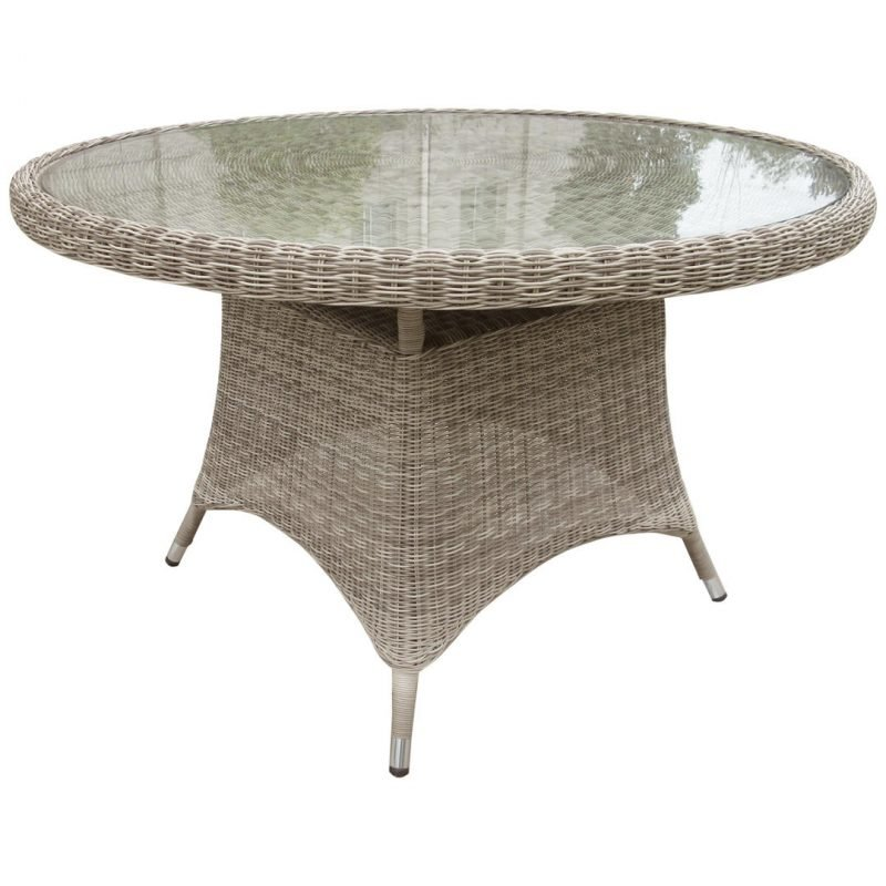 Round 4-seater wicker garden table