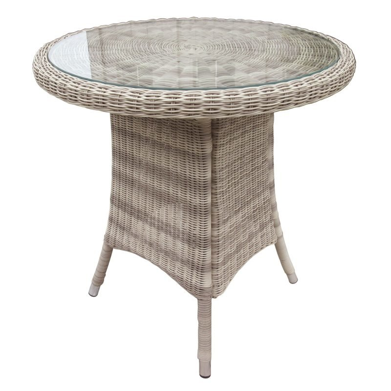 Round wicker bistro table with glass top