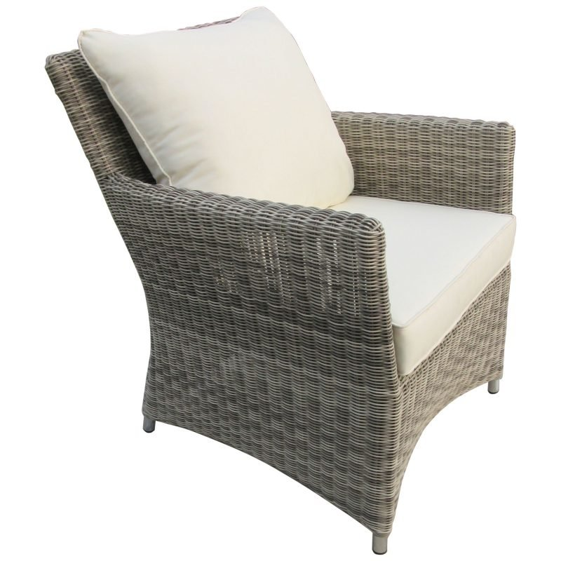 Wicker armchair with cushions