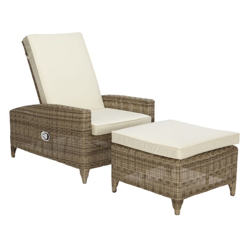 Wicker sun lounger and stool